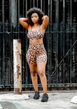 Khloe Leopard Print Short Set- Brown