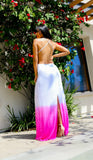 Sky White and Pink Backless Maxi Dress
