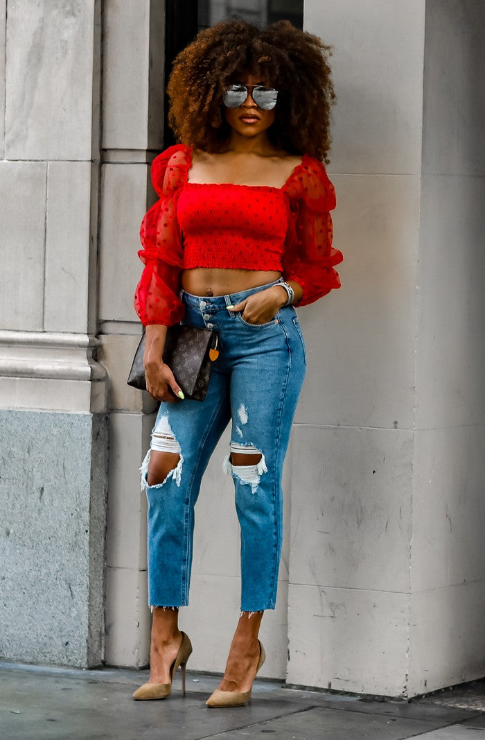 KIRA RED SHEER PUFF SLEEVED TOP