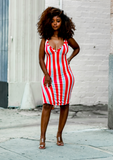 Layla Striped Midi Dress- Red