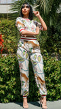 DANIELLA SAFARI PRINT PANT SET