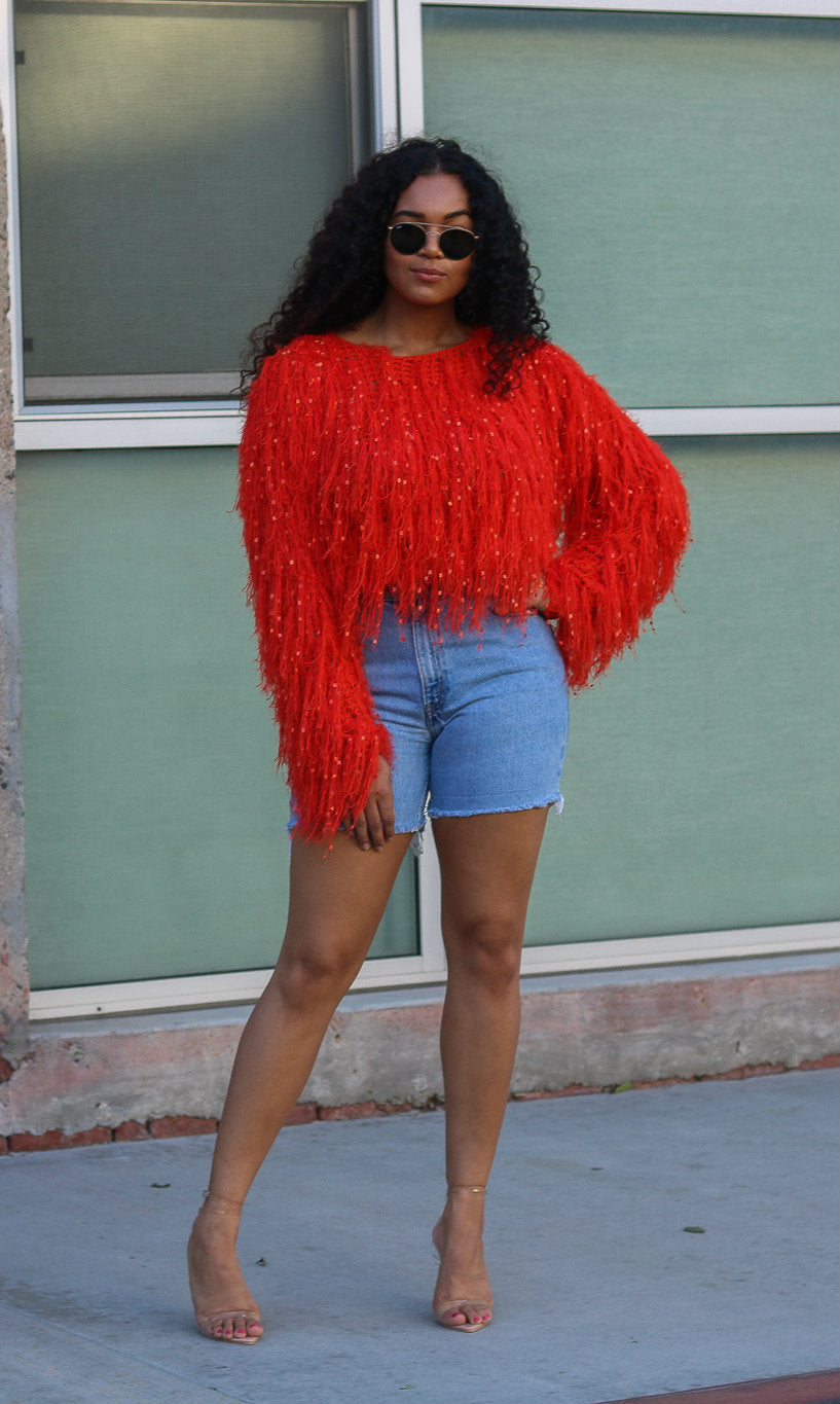 TANIA ORANGE SHAG SWEATER