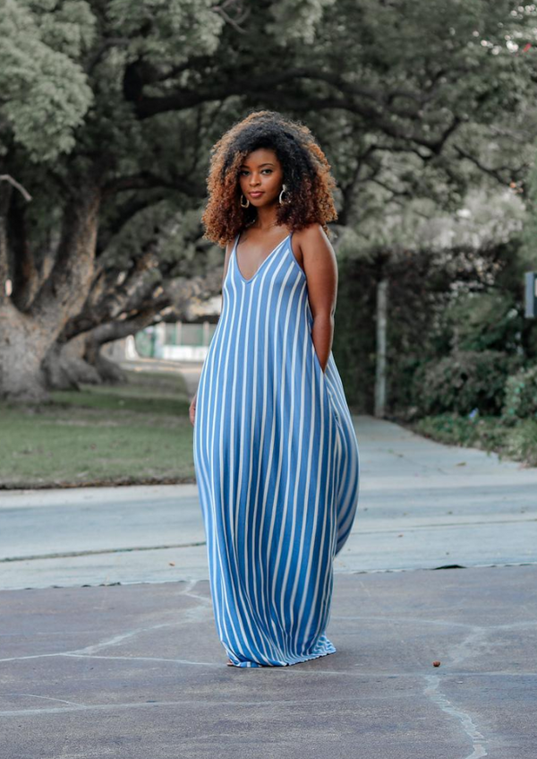 Shawna Striped Maxi Dress- Denim