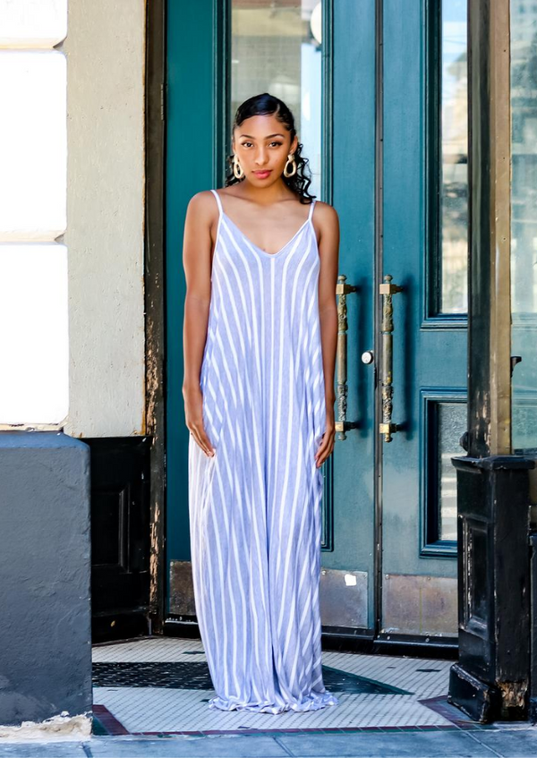 Shawna Striped Maxi Dress- Heather Grey