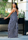 Shawna Striped Maxi Dress- Navy