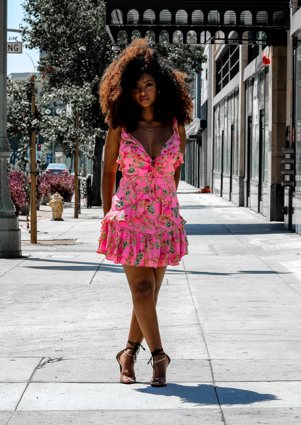 Taya Pink Ruffled Floral Dress