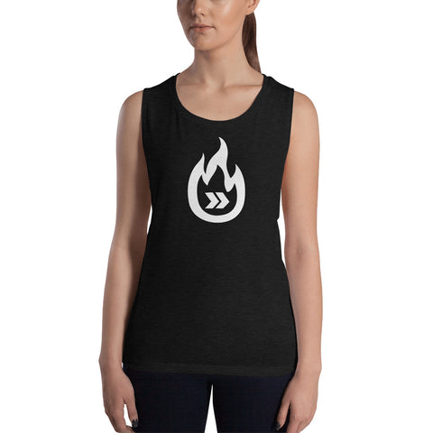 Burn Your Plans clear logo Ladies' Muscle Tank