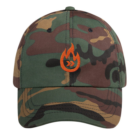 Burn Your Plans orange logo Dad hat