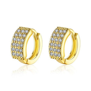 18K Gold Plated Huggies Earring-Triple Row Pave'