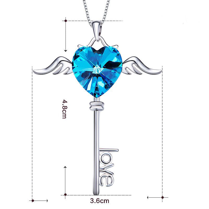 Swarovski Crystals Bermuda Blue Flying is the Key to Love  Necklace