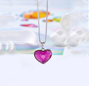 Swarovski Crystals 3.44 CT Pink Topaz Heart  Necklace