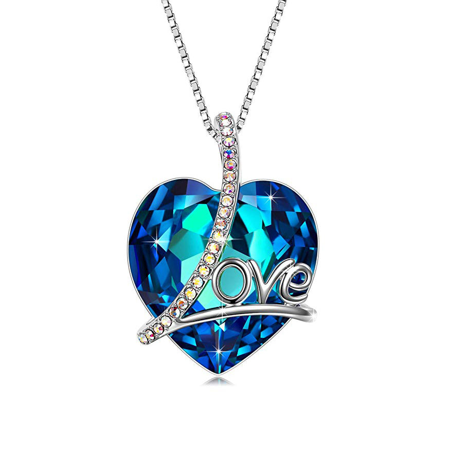 Swarovski Crystals 5.00 Ct Bermuda Blue LOVE with AB Stones  Necklace