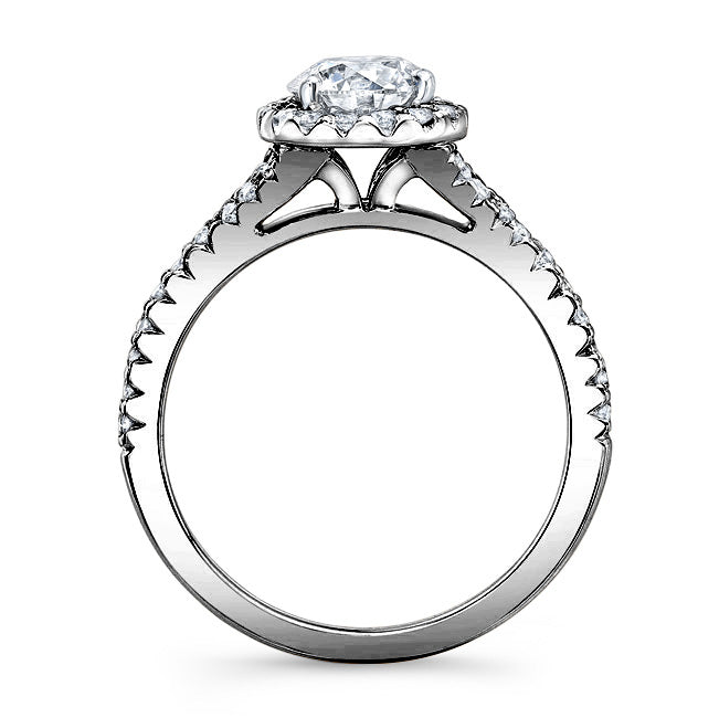 Modern Style Petite Diamond Halo Engagement Ring In 14k Black Gold