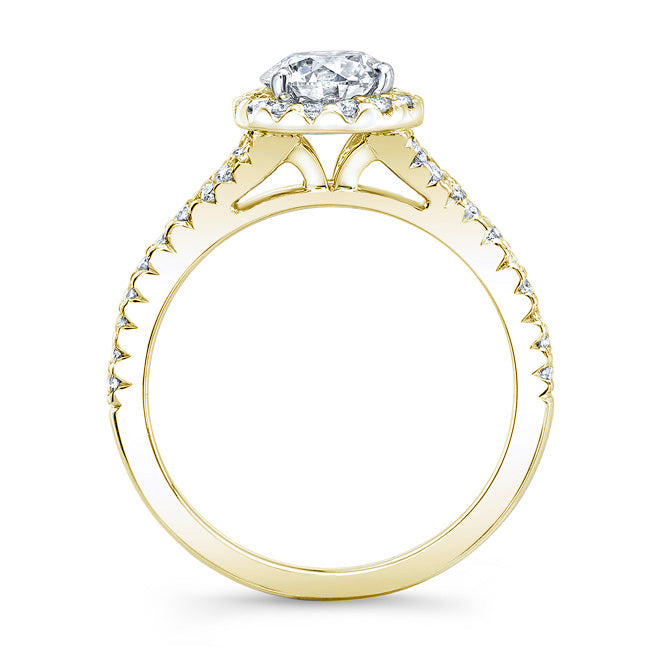 Modern Style Petite Diamond Halo Engagement Ring In 14k Yellow Gold