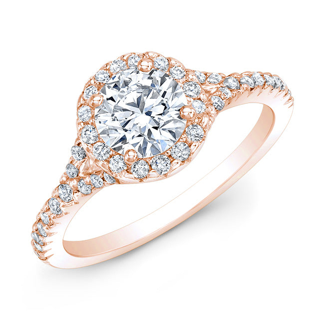 Modern Style Petite Diamond Halo Engagement Ring In 14k Rose Gold
