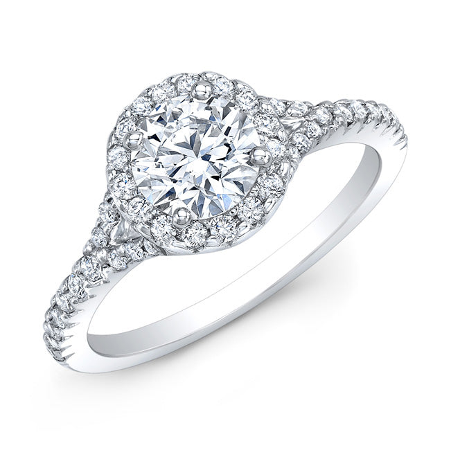 Modern Style Petite Diamond Halo Engagement Ring In 14k White Gold