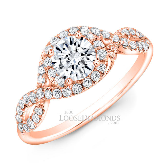 Modern Style Twisted Shank Diamond Halo Engagement Ring In 14k Rose Gold