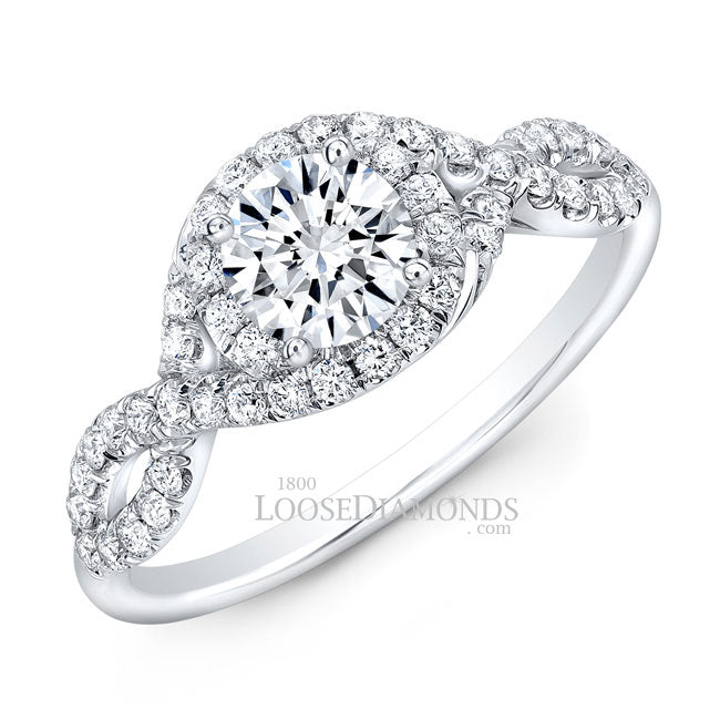Modern Style Twisted Shank Diamond Halo Engagement Ring In 14k White Gold