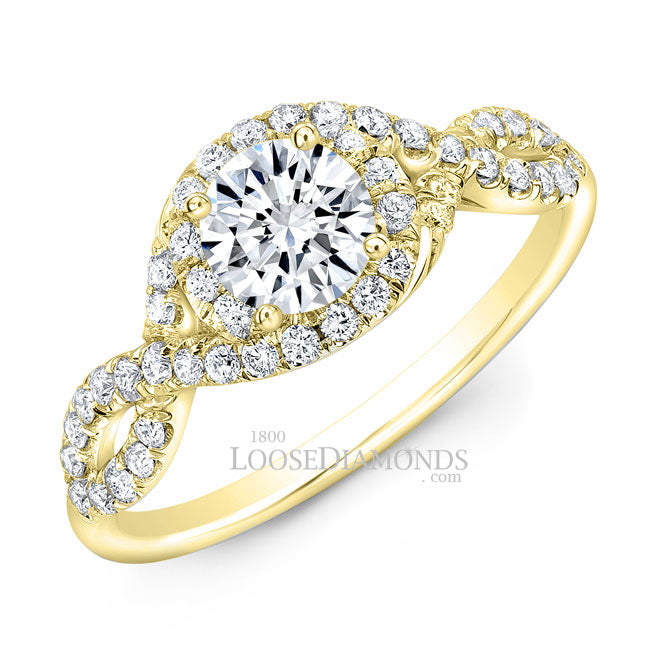 Modern Style Twisted Shank Diamond Halo Engagement Ring In 14k Yellow Gold