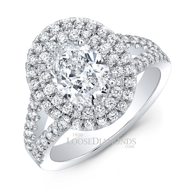 Modern Style Split Shank Diamond Halo Engagement Ring In 14k White Gold