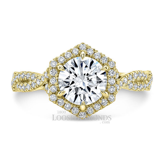 Art Deco Style Twisted Shank Hexagon Halo Diamond Engagement Ring In 14k Yellow Gold