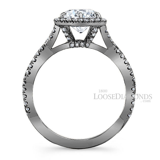 Art Deco Style Twisted Shank Hexagon Halo Diamond Engagement Ring In 14k Black Gold