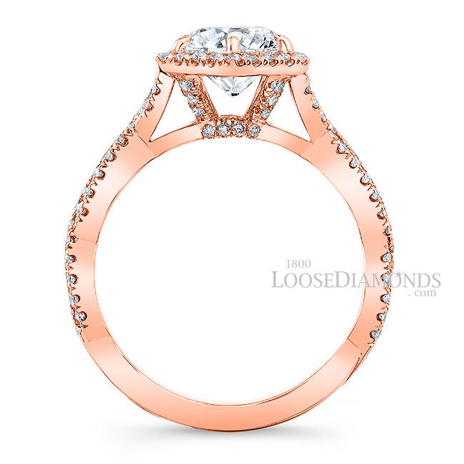 Art Deco Style Twisted Shank Hexagon Halo Diamond Engagement Ring In 14k Rose Gold