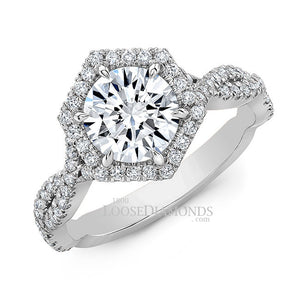 Art Deco Style Twisted Shank Hexagon Halo Diamond Engagement Ring In 14k White Gold