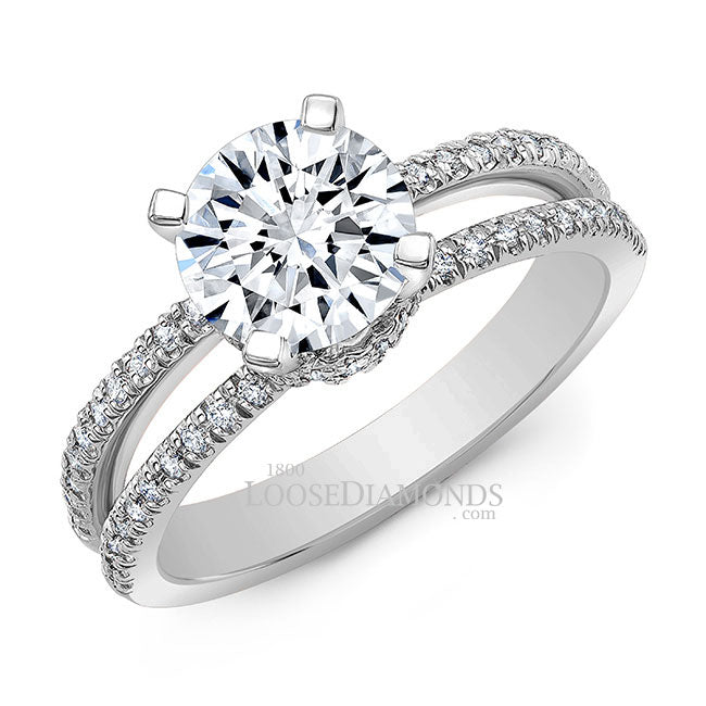 Classic Style Split Shank Diamond Engagement Ring In 14k White Gold