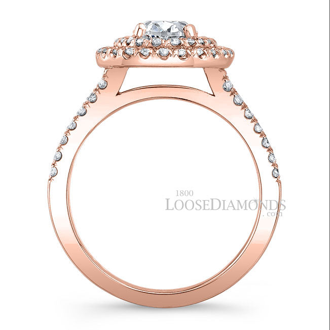 Modern Style Split Shank Diamond Halo Engagement Ring In 14k Rose Gold