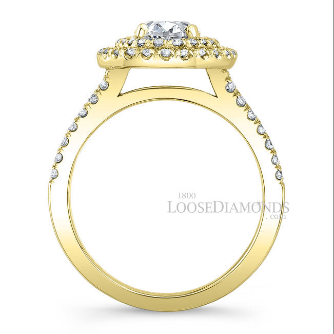 Modern Style Split Shank Diamond Halo Engagement Ring In 14k Yellow Gold