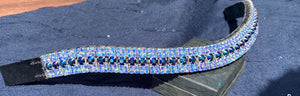 18mm curve Black/blue and Iridescent Blue crystal 18mm Browband Full