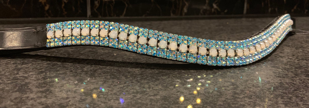 18mm curve  white opal and iridescent blue browband Full