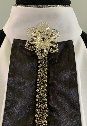 Black Beaded stock tie with flower
