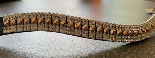 18mm curve Bronze and Clear Crystal browband Full