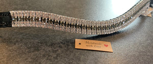 18mm Curve grey and clear crystal curve browband Full