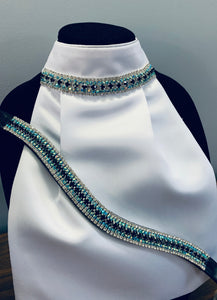 Set ~ Navy and iridescent blue browband with stock tie