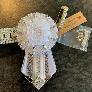 Set ~ Clear crystal and iridescent browband with removable rosettes and stock tie