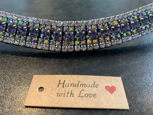 18mm curve purple , iridescent blue and clear browband Full
