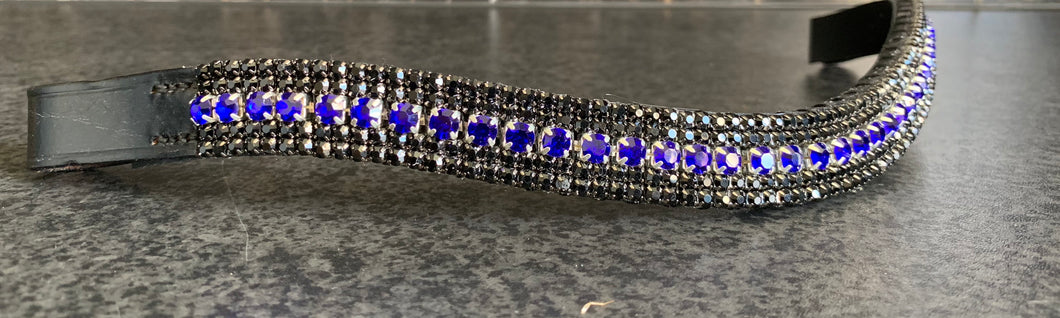 18mm curve browband Royal Blue and Jet browband Cob