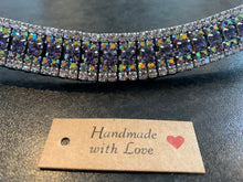 A 18mm curve purple , iridescent blue and clear browband Warmblood