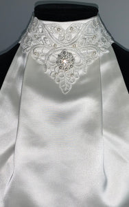 Elegant lace with broach stock tie
