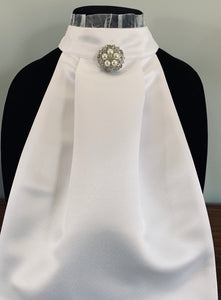 White frill neck with pearl broach stock tie