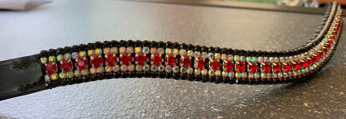 18mm curve  Red, iridescent and black browband Full