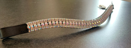 18mm Iridescent and clear crystal curve browband Cob