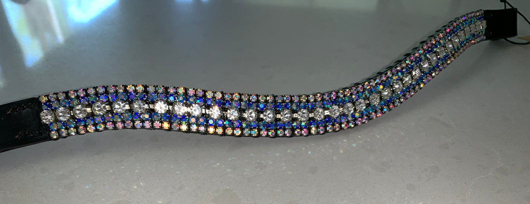 18mm Clear, light blue and iridescent Cob browband