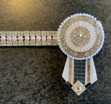 Iridescent and clear crystal browband with rosettes Full