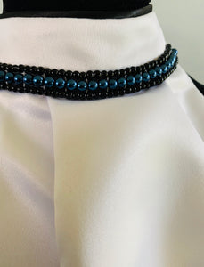 Black and blue pearl stock tie