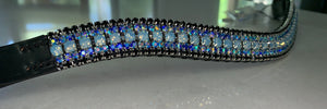 18mm Blue opal, iridescent and jet Full browband