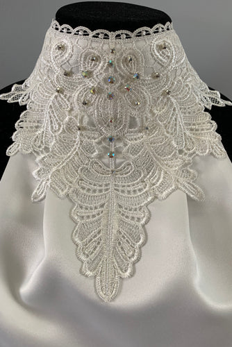 Nina lace stock tie with hand sewn crystals
